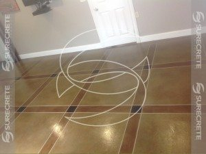 tile look thin concrete tape pattern