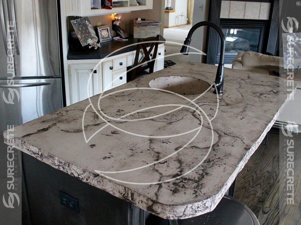 Surecrete Xtreme Countertop : Veined Concrete Bar Sink