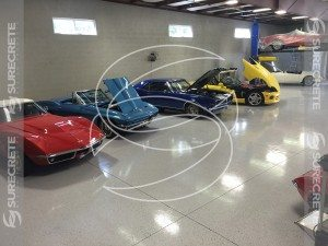 white epoxy flake custom garage floor