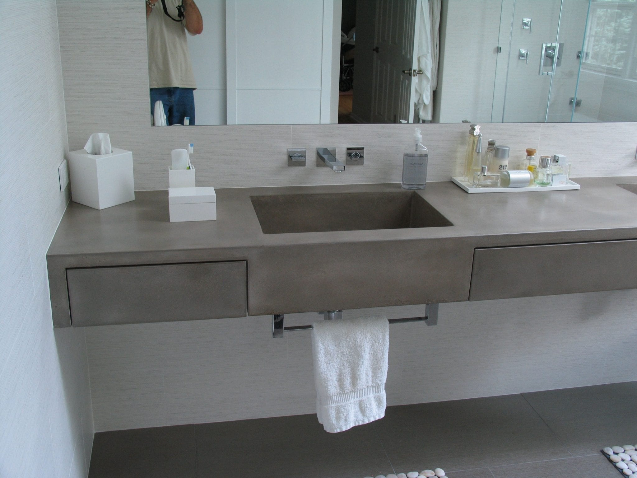 Gfrc wall panels countertop concrete bathroom makeover for Bathroom countertops