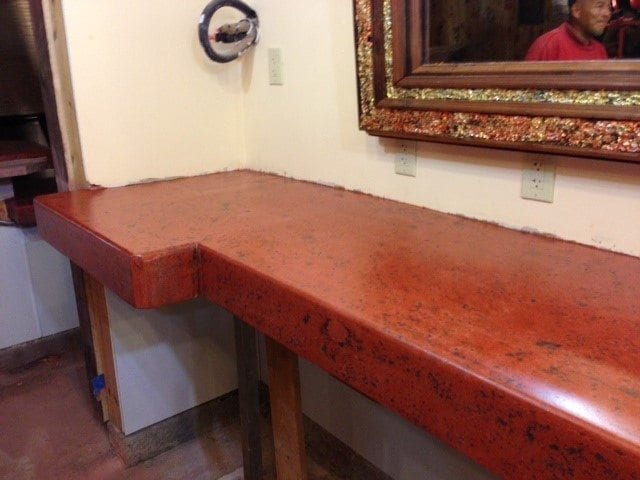 Nice Cantina Bar Top Red Pressed Concrete Counter