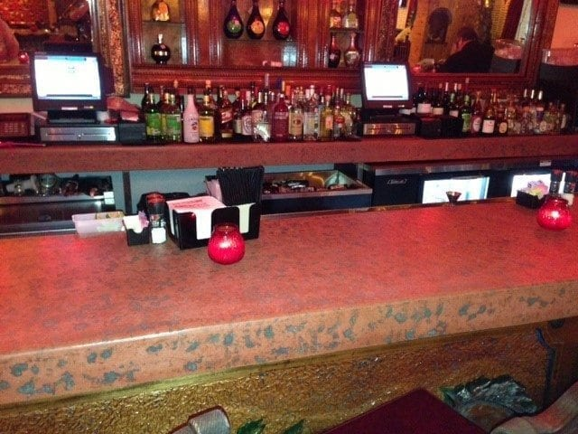 Cantina Bar Top Red Pressed Concrete Counter