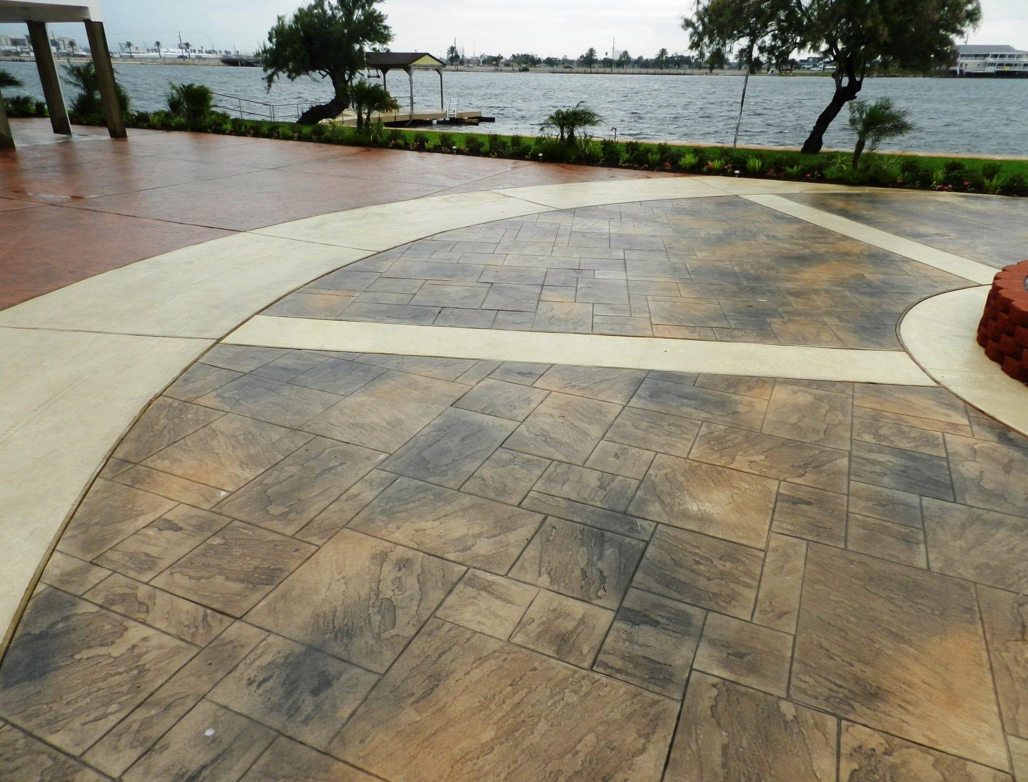 Galveston stamped concrete driveway surecrete products for Base for concrete driveway