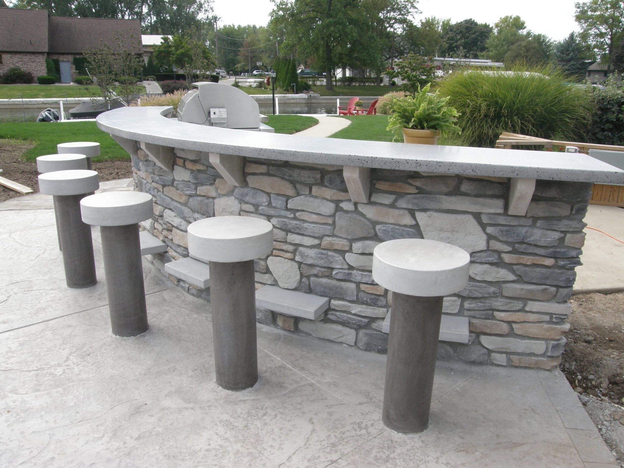 Concrete Bar Top And Stools Made To Weather All Seasons