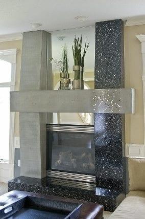 Custom Terrazzo Fireplace Surround Reflects New Concrete