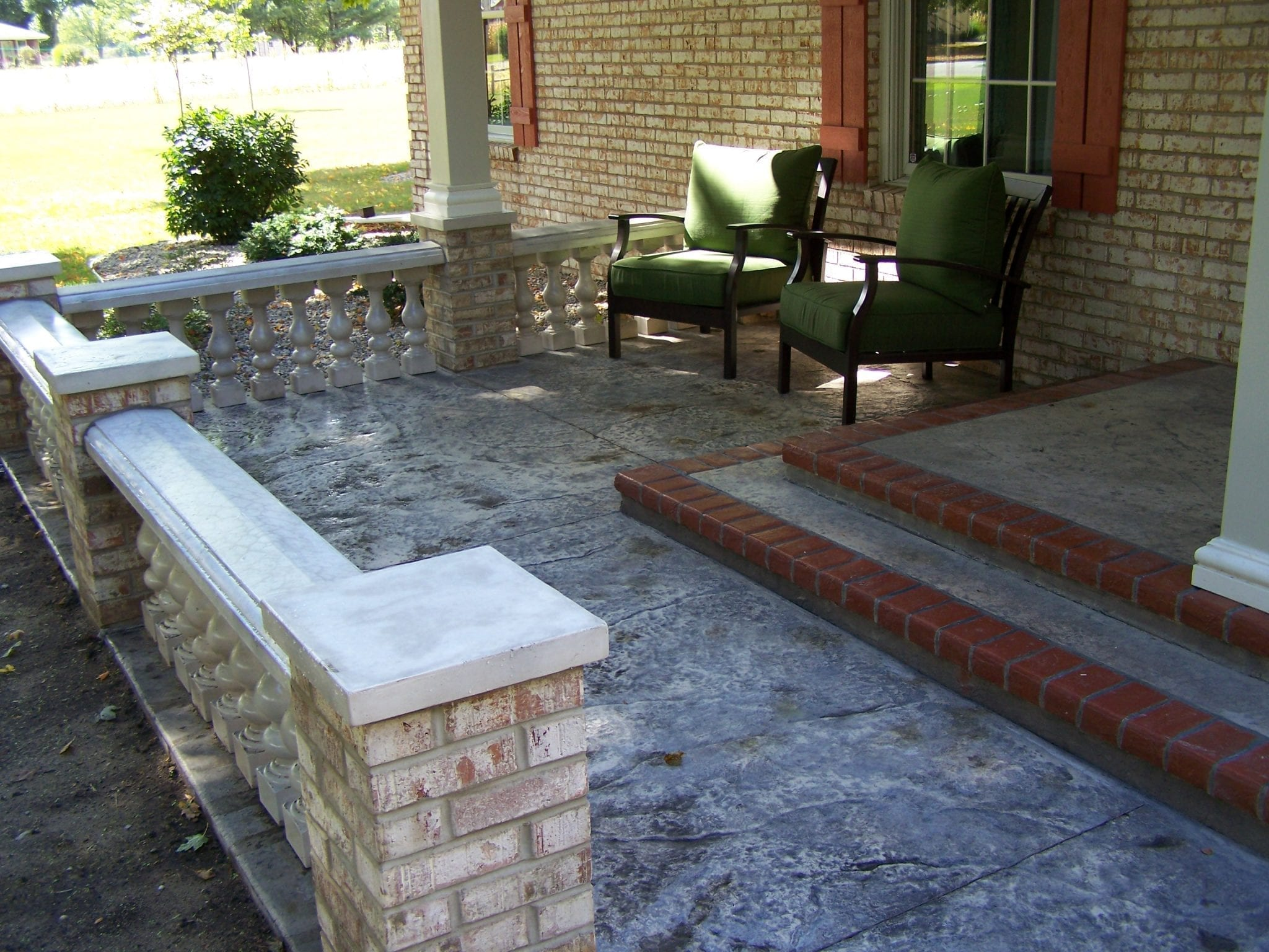 Concrete front porch makeover baluster floor designs for Front porch patio designs
