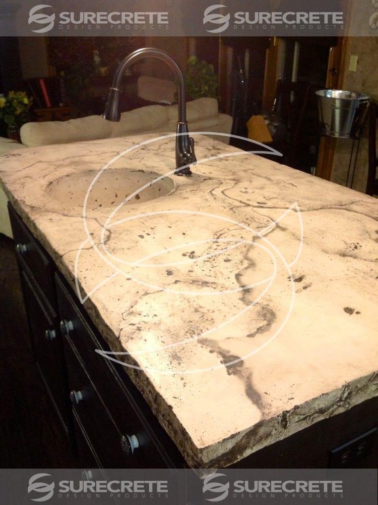 Veined Kitchen Island Concrete Countertop