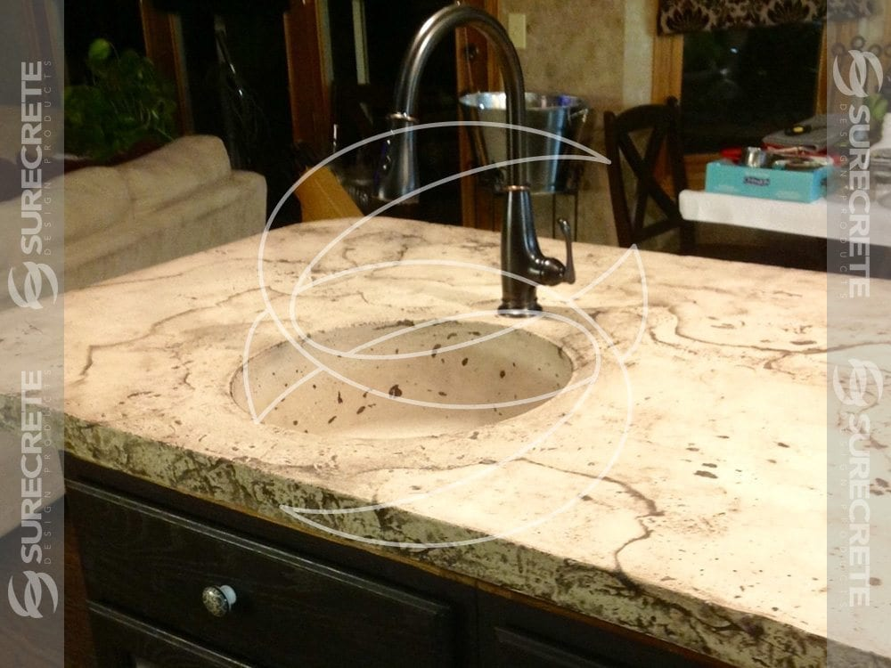Veined Kitchen Island Concrete Countertop