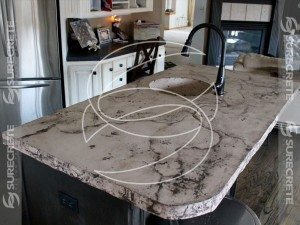 white gray faux stone countertop veined
