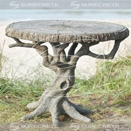 Concrete Tree Table Sculpted by Artist