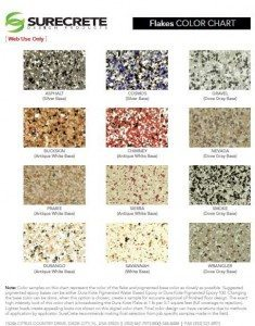 Epoxy Color Flake Chart
