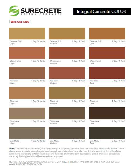 intergal color chart