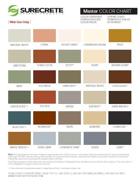 Surecrete Product Catalog Data Sheets Color Charts
