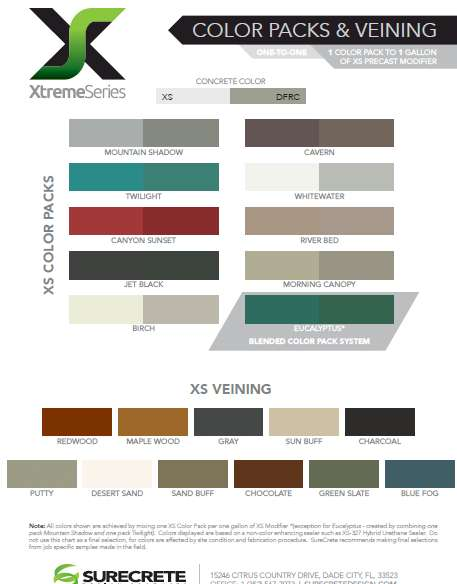 xtreme series color chart