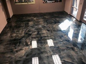 epoxy 3d reflective black metallic floor