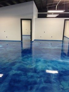 blue epoxy metallic pearls floor