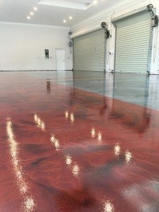 red pewter metallic garage floor