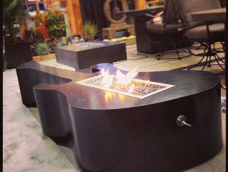 Solid Black Concrete Guitar Fire Table
