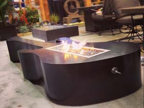 Solid Black Concrete Guitar Fire Table