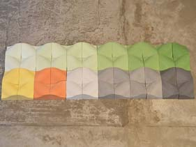 Cast Curved Multi-Colored Concrete Accent Tiles