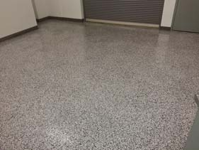 Black White and Gray Epoxy Flake Garage Floor