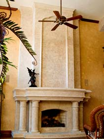 Tan and White Concrete Fireplace Surround Wall Panels