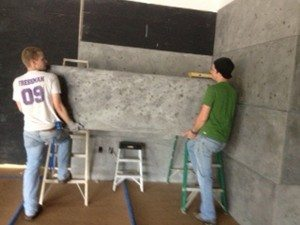 Thin Gray Concrete Wall Panels for Retail Area