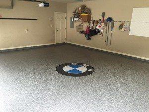 White Epoxy Garage Flake Floor