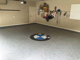 White Epoxy Garage Flake Floor