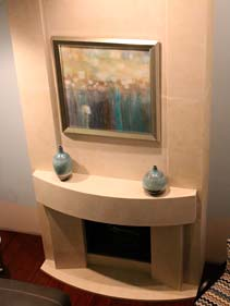 White Stone Concrete Fireplace Surround