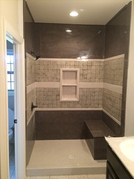 Gray Concrete Terrazzo Shower Tiles