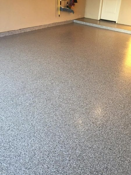 Grey and White Speckled Garage Flake Floor