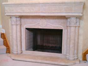 Cast and Sculpted Concrete Fire Place