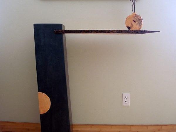Modern Concrete Black Tan Wood Cantilever Shelf Table