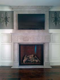 Concrete Fire Place Surround and Wall TV Panel