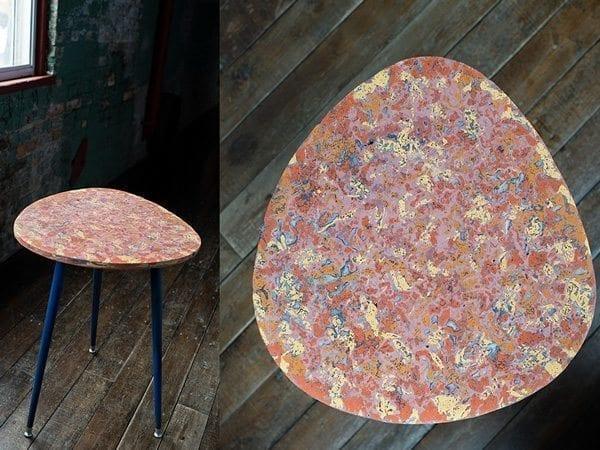 Yellow and Orange Sunburst Cast Concrete Side Table