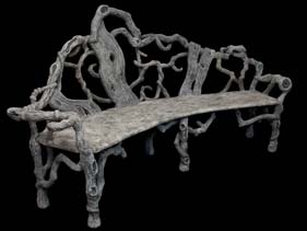 Grey Winding Natural Wood Concrete Bench