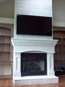 White Modern Stone Concrete Fire Place