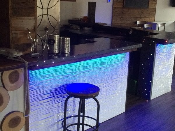 Black Concrete Counter Top with Fiberoptics