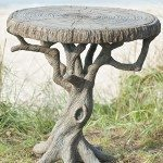 Natural Wood Concrete Side Table