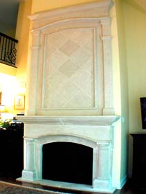 White Concrete Diamond Pattern Fire Place Surround