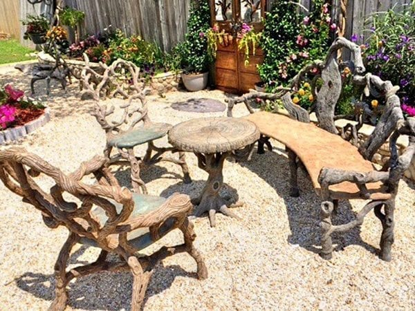 Complete Natural Wood Cast Concrete Patio Furniture Set