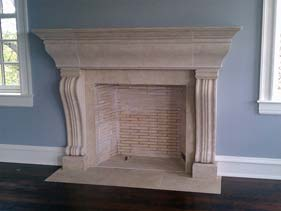Tan Cast Concrete Fire Place Mantle Piece