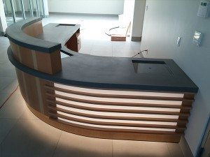 Curved Gray Concrete Reception