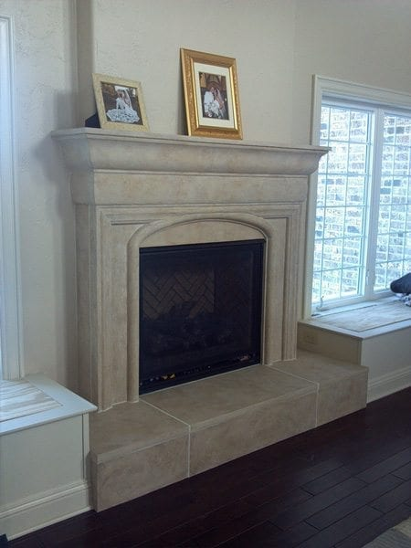 Cream Color Concrete Burnished Stone Fire Place Mantle