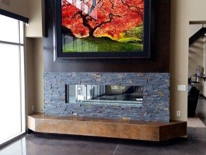 Concrete Brown Wall Accent with Stacked Stone Surround