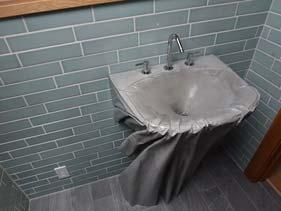 Gray Faux Fabric Concrete Bathroom Vanity