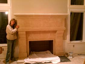 Very Large Tan Concrete Fireplace Surround