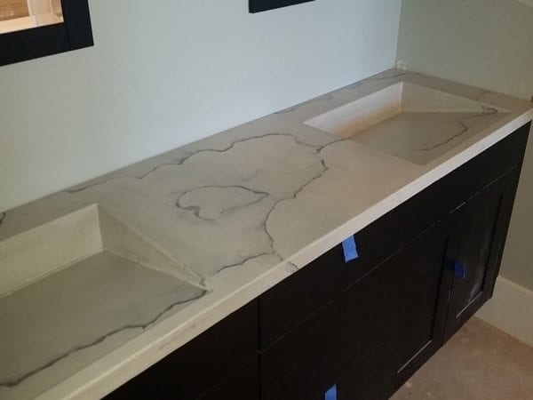 White Concrete Bath Vanity with Integral Sinks