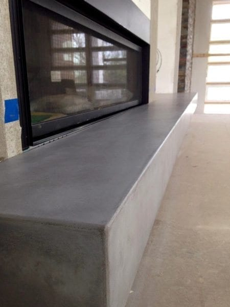 Clean Gray Concrete Fire Place Hearth